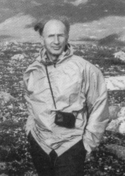 Edward Lorenz on a hike in the winter