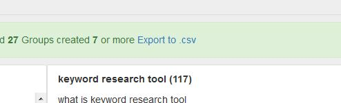 exporting grouped keywords