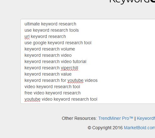 paste in your keywords
